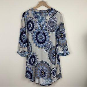 Perfectly Priscilla Gray & Blue Paisley Tunic Top